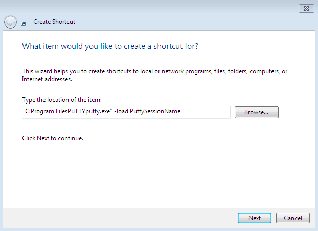 Putty shortcut to saved session in Windows