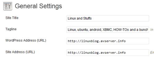 WordPress General Settings - URL
