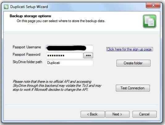 Duplicati - Setup SkyDrive