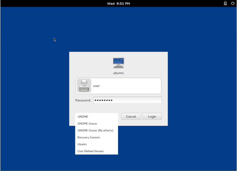 Gnome Core Desktop GDM Login