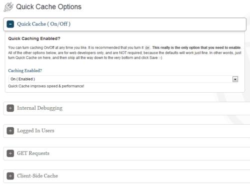 Quick Cache - Options