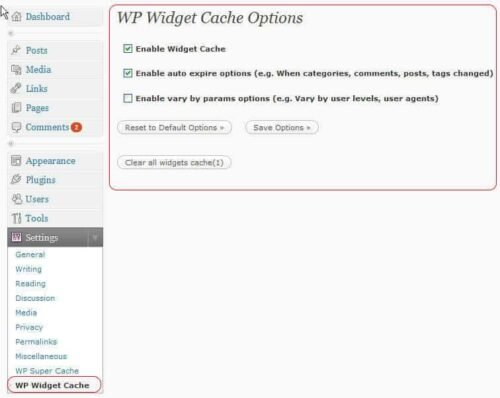 WP Widget Cache - Options