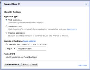 Create Client ID - Settings