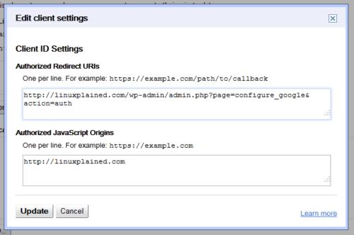 Google Client ID - Settings