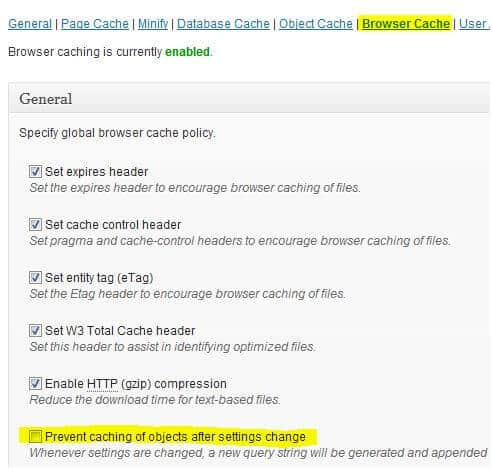 Prevent Caching of Objects After Settings Change