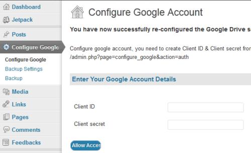 WP Google Drive Menu