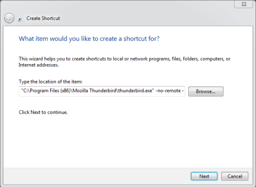 Windows Create New Thunderbird Shortcut