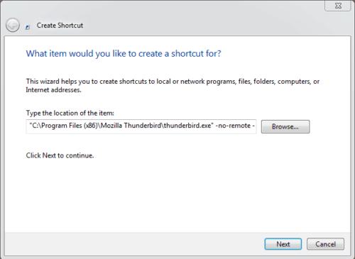 Windows Create New Thunderbird Shortcut