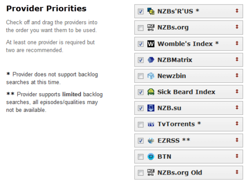 Sick Beard Settings - Search Providers 1
