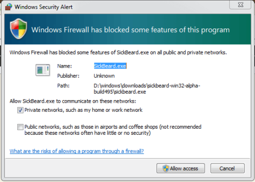 Sick Beard Windows Firewall