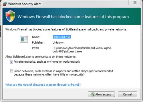 Sick Beard Windows Firewall