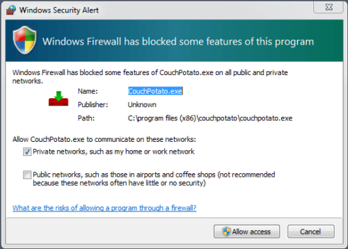 Windows Firewall CouchPotato Access
