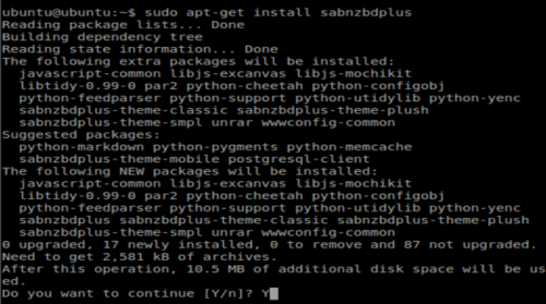 SABnzbd Ubuntu Installation
