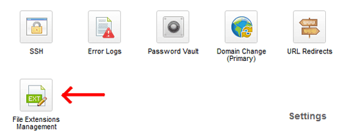GoDaddy File Extensions Management