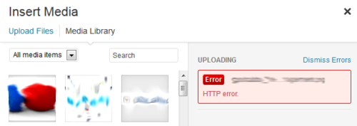 WordPress HTTP Error during Media Upload
