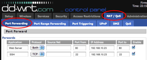 Port Forwarding Table on DD-WRT