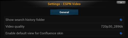 ESPN Videos Settings