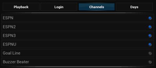 ESPN Plugin Channel Settings