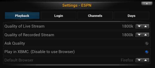 ESPN Plugin Playback Settings