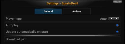 SportsDevil Settings