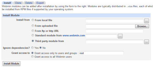 Install Additional Webmin Modules