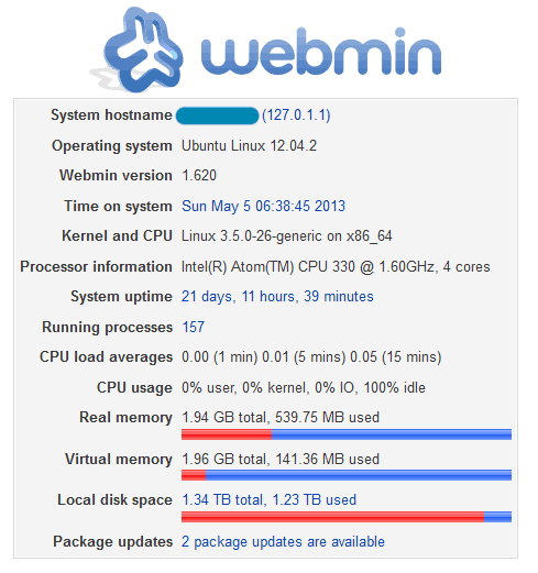 Webmin System Information Page