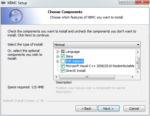 Choose XBMC Components