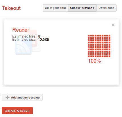 Google Takeout Create Archive