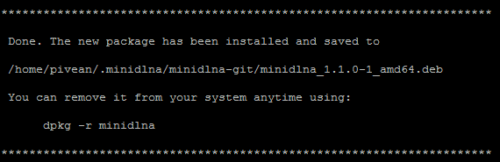 MiniDLNA checkinstall Completion