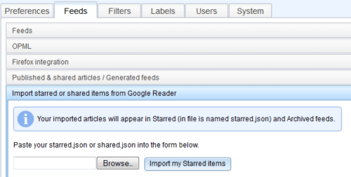 Google Reader Shared / Starred Import