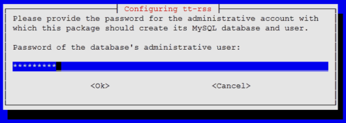 MySQL Admin Password