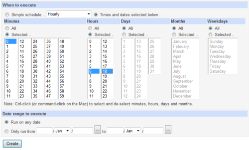 Webmin Cron Job Schedule