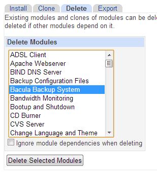 Remove Webmin Module