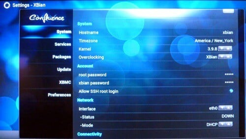 Xbian Settings Window