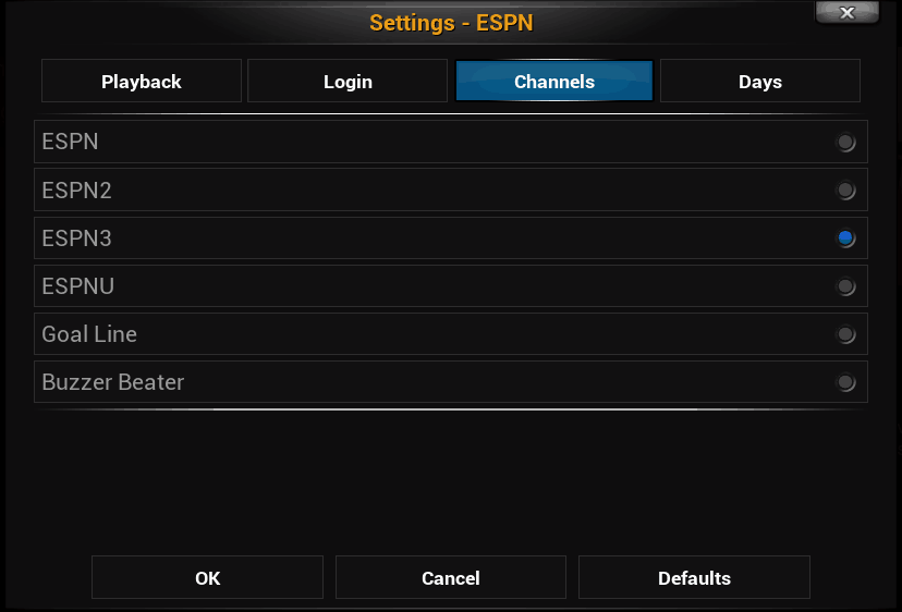 Channels Settings