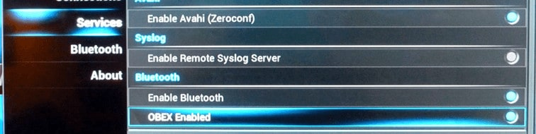 OpenELEC Bluetooth Settings