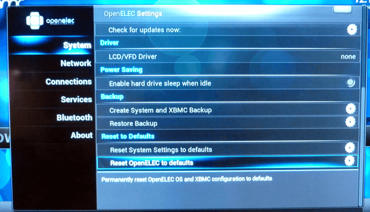 OpenELEC Backup Options