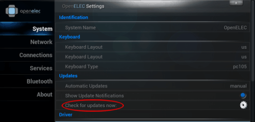 OpenELEC 3.2.2 Update Options