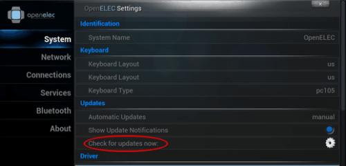 OpenELEC 3.2.3 Update Options