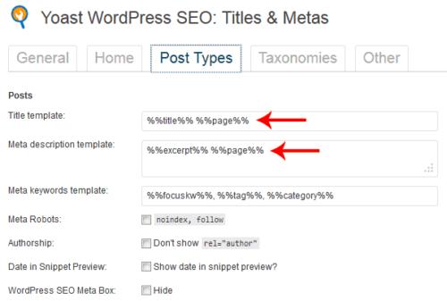 Yoast WordPress SEO - Titles and Metas Settings