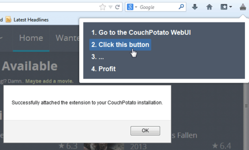 Integrating CouchPotato Firefox Plugin