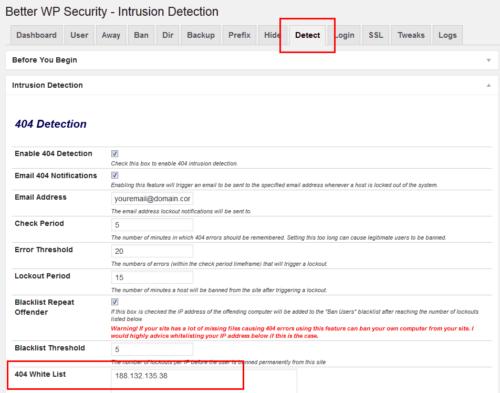BWPS Intrusion Detection Whitelist