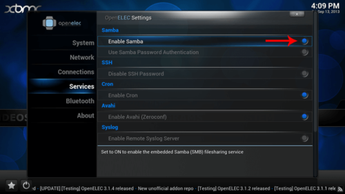OpenELEC Enable SAMBA Settings