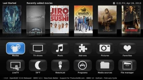 SiO2-X Skin for XBMC on Raspberry Pi