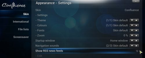 XBMC Disable RSS Feeds
