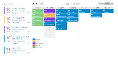 nzbdrone - Calendar of Coming Episodes