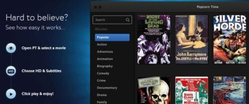 Torrent Streaming with Popcorn Time