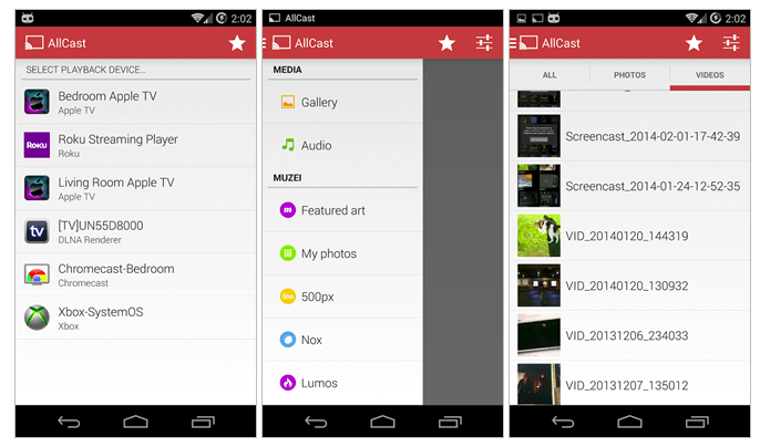 Stream media from Android device to TV using AllCast