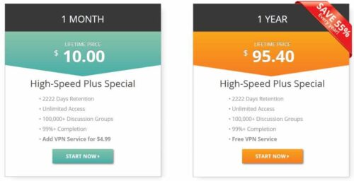 UsenetServer Unlimited Plans with VPN