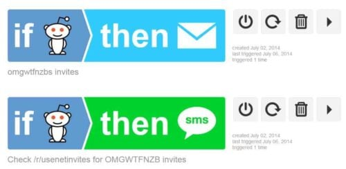 Usenet Invite Recipes on IFTTT